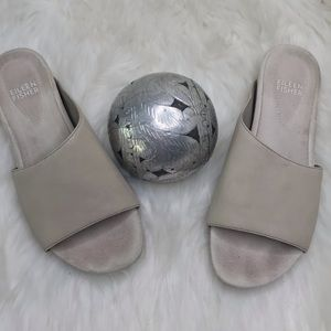Eileen Fisher Leather Gray Slip on Sandals Sz 6.5